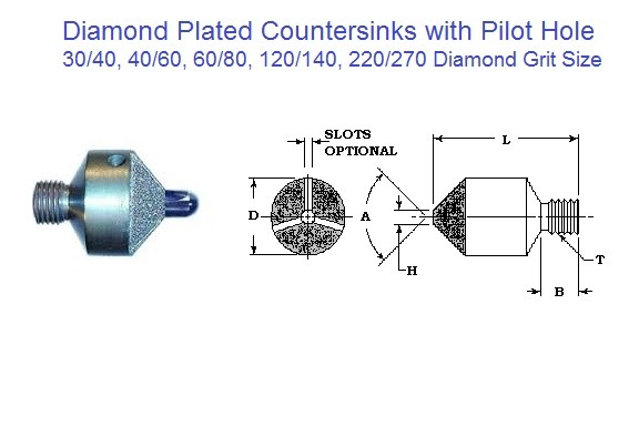 Diamond Plated Stop Countersink w/ w/o Pilot, 80, 90 ,100 Degree 3/8 - 1