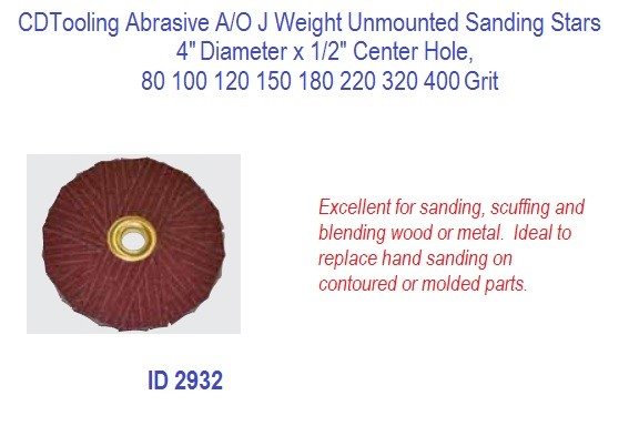 Abrasive A/O J Weight Unmounted Sanding Stars, 4