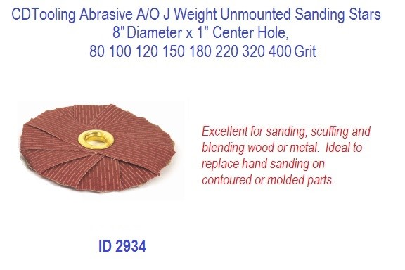 Abrasive A/O J Weight Unmounted Sanding Stars, 8
