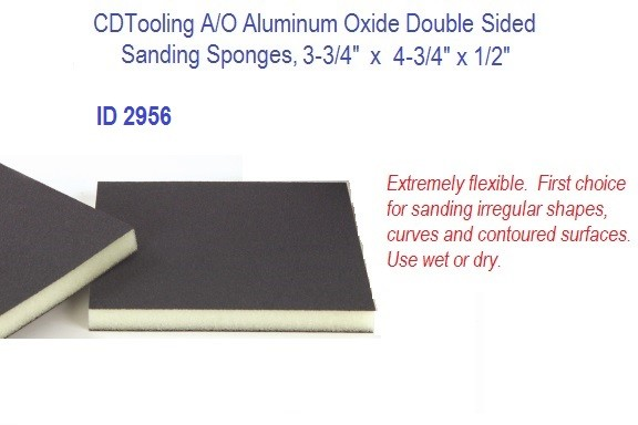 A/O Aluminum Oxide Double Sided Sanding Sponges, 3.750 3-3/4
