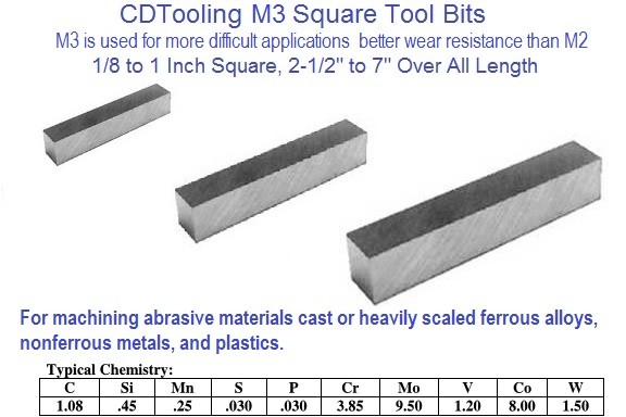 M3 High Speed Steel Tool Bits Square 1/8 to 1 x 2-1/2 to 7 Inch Long