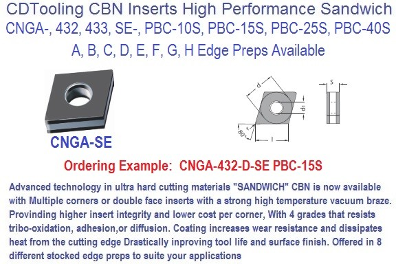 CNGA-,432-,433-,SE-, Sandwich Tipped PCBN Insert PCB-,10S,15S,25S,40S