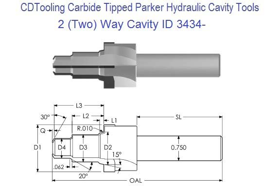 2, Two Way Parker Common Cavity Cutter Carbide Tipped ID 3434-