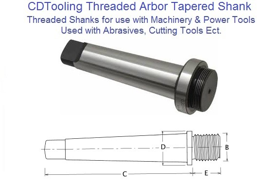 Morse Taper Shank Threaded Arbors Use with Cutting Tools, Chucks, Abrasives ect.