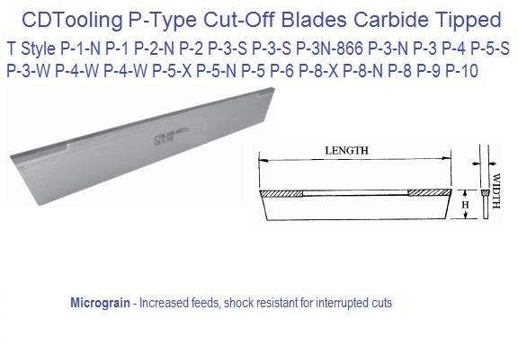 T Type Cut off Blades Carbide Tipped 0.040 1/16 5/64 3/32 1/8 5/32 3/16 1/4 5/16 Width