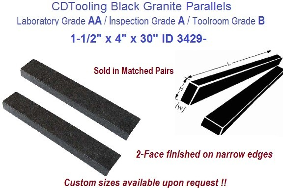 1-1/2 x 4 x 30 AA Laboratory, A Inspection, B Toolroom, 4 Face Parallels Black Granite ID 3430-
