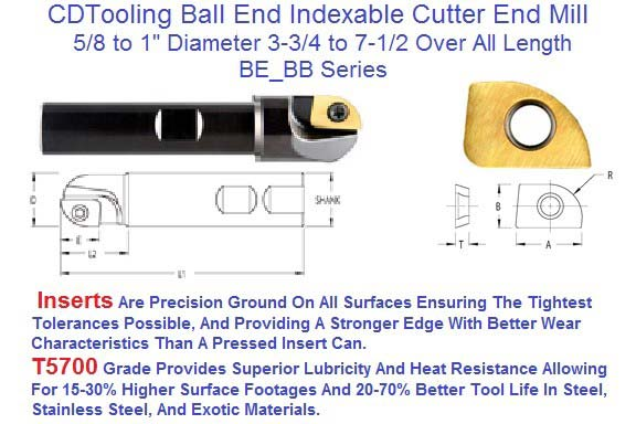 Ball End Indexable Carbide Insert Cutter BE_BB 5/8 to 1 inch Diameter,  3-3/4 to 7-3/4 EM15 Insert