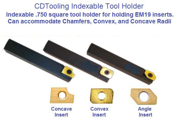 Indexable Carbide Insert Turning Holder, Convex, Corner Round Concave, Angle Cutting