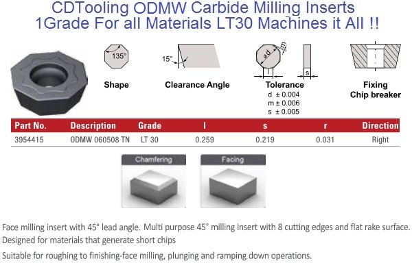 ODMW 060508 TN LT30 Carbide Inserts Multi-Material 1 Grade for all Materials, fits Seco, Walters cutters 10 Pack