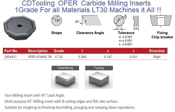 OFER 070405 TN LT30 Carbide Inserts Multi-Material 1 Grade for all Materials, fits Iscar, Seco cutters 10 Pack
