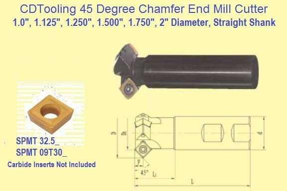 45 Degree Indexable Carbide Chamfer Mill 1, 1-1/8, 1-1/4, 1-1/2, 1-3/4, 2 Inch Diameter ID 2742
