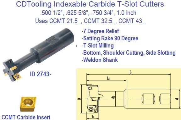 Indexable Carbide T Slot Cutter 1/2, 5/8, 3/4, 1 Inch Diameter CCMT Insert ID 2743