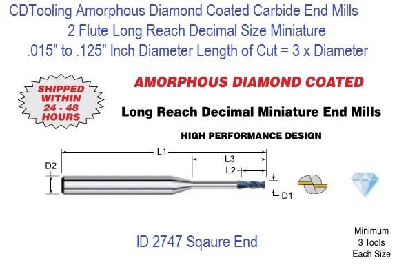 Amorphous Diamond Coated Flute Decimal Size Micro Square End Mills Long Reach 2 Flute 0.015-0.125