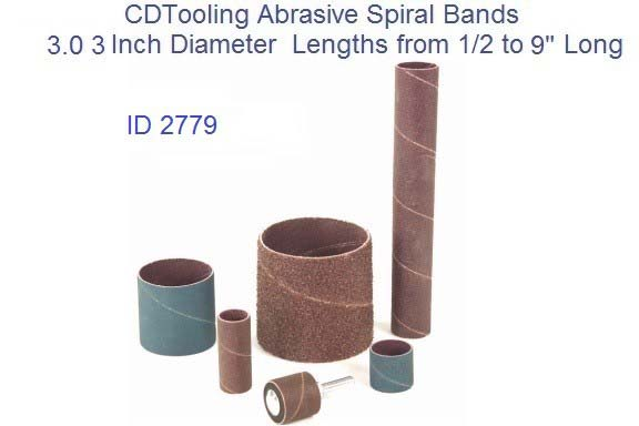 Abrasive Spiral Bands 3.0 3 Inch Diameter from 1/2 to 9