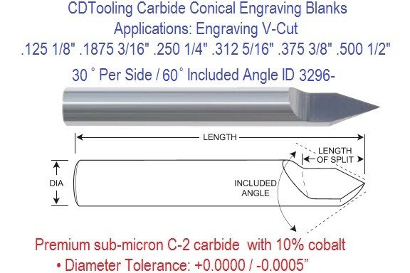 Carbide 30 Per Side 60 Included Degree Angle Conical Engraving Blanks 1/8 3/16 1/4 5/16 3/8 1/2 Inch ID 3296-