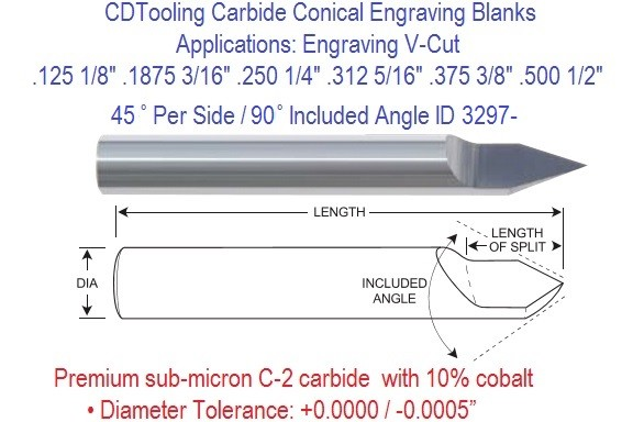 Carbide 45 Per Side 90 Included Degree Angle Conical Engraving Blanks 1/8 3/16 1/4 5/16 3/8 1/2 ICarbide 30 Per Side 60 Included Degree Angle Conical Engraving Blanks  Diameters 1/8 3/16 1/4 5/16 3/8 1/2 Inch ID 3297-