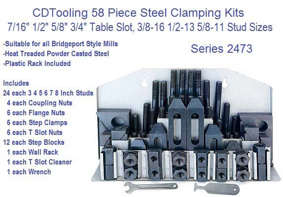 58 Piece Steel Clamping Kit 7/16 1/2 5/8 3/4 Table Slot, 3/8-16 1/2-13 5/8-11 Studs