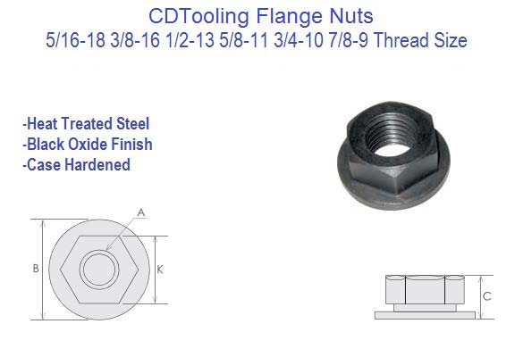 Flange Nuts 5/16-18, 3/8-16, 1/2-13, 5/8-11, 3/4-10, 7/8-9, 10 Pack