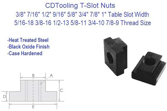 T-Slot Nuts 3/8, 7/16, 1/2, 9/16, 5/8, 3/4, 7/8, 1 Inch Table Slot 10 Pack