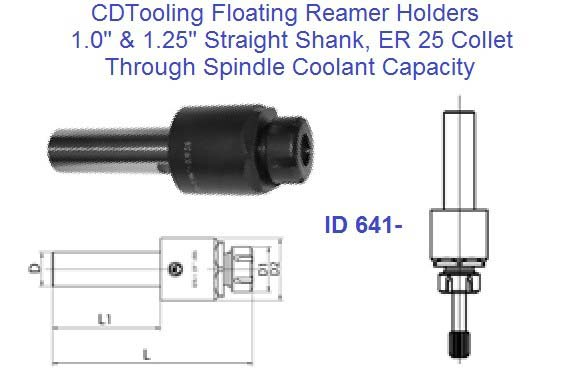 Floating Reamer Holders Straight Shank 1 and 1-1/4 Shank ER 25 Collet ID 641-