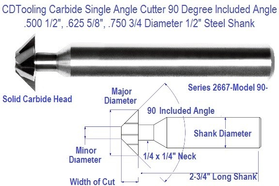 90 Degree Single Angle Carbide Cutter 1/2, 5/8, 3/4, Diameter Model 90 Series 2667