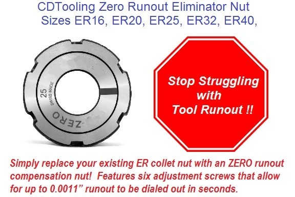 ER Zero Run Out Collet Nuts ER16 ER20 ER25 ER32 ER40 0.0011