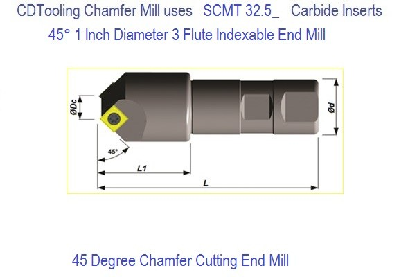 45 Degree 3 Flute Indexable 1 Inch End Mill SC45 D1.00-W1.00/4.00-03-09 SCMT  Inserts ID 3349-