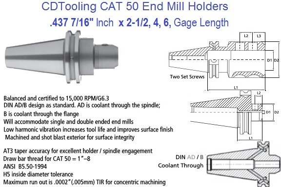 .437 7/16 CAT 50 End Mill Holder 2.5, 4, 6 Inch Gage Length