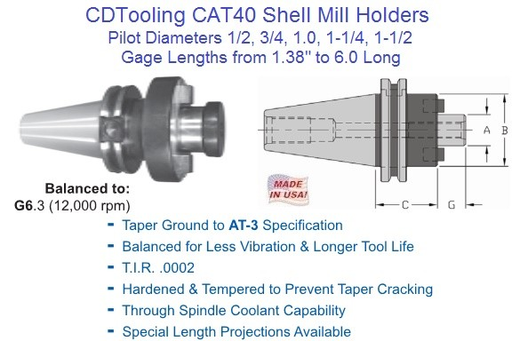 CAT40 Shell Mill Holders 1/2 3/4 1 1-1/4 1-1/2 Pilot Inch Diameter G6.3 Made in USA