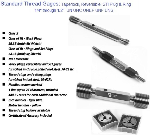 Standard Thread Gages Work Plugs, Rings and Set Plugs 1/4