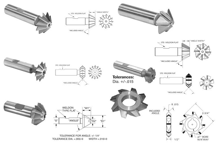 Milling Cutter,Single, Double, Angle, HSS, HSCO, Carbide