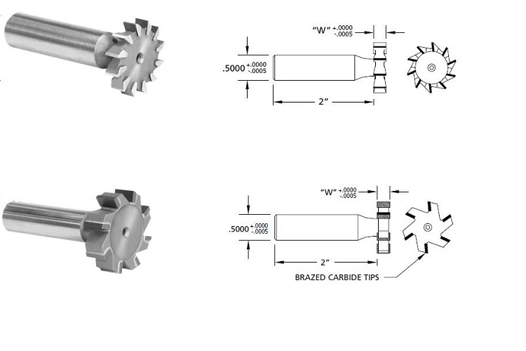 Milling Cutter, Deep Slotting,High Speed Steel, Carbide Tipped