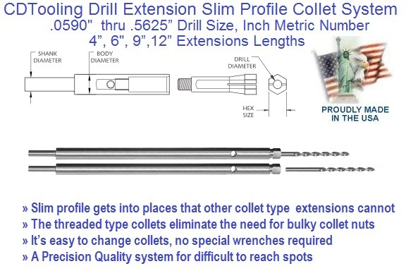 Drill Extension, Drill, .0590 to .625 inch Drill Size, 4 6 9 12 Inch Length