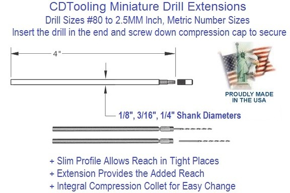 Miniature Drill Extensions Sizes Number 80 to 2.5 MM Drill Size 1/8, 3/16 1/4 Shank x 4 Inch Long ID 2258-