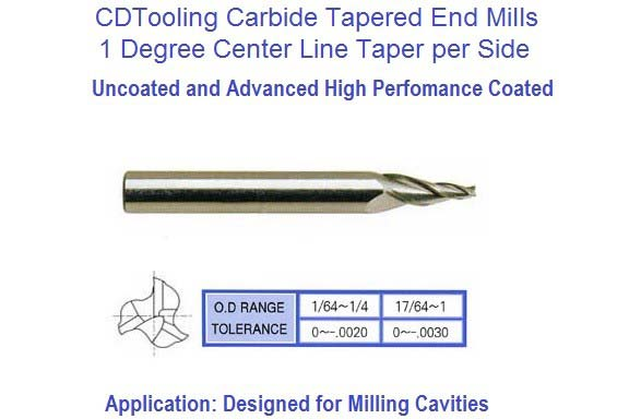 1 Degree Carbide Tapered End Mills 1/8 3/16 1/4 Tip, 1/4 3/8 1/2 Shank,Series E5077