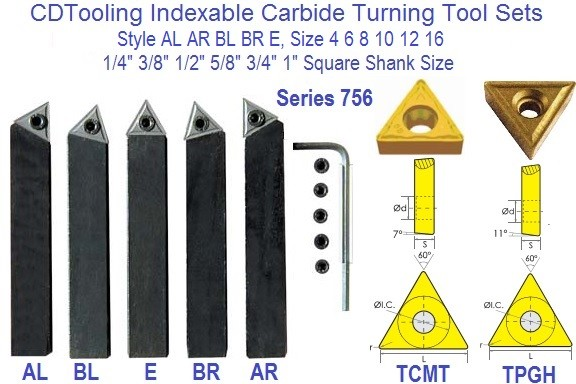Indexable Turning Tool Bits AL AR BL BR E, 4 6 8 10 12 16 1/4 3/8 1/2 5/8 3/4 1 Inch Series 756