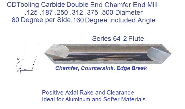 160 Degree Included 80 Per Side Angle 2 Flute Carbide ...