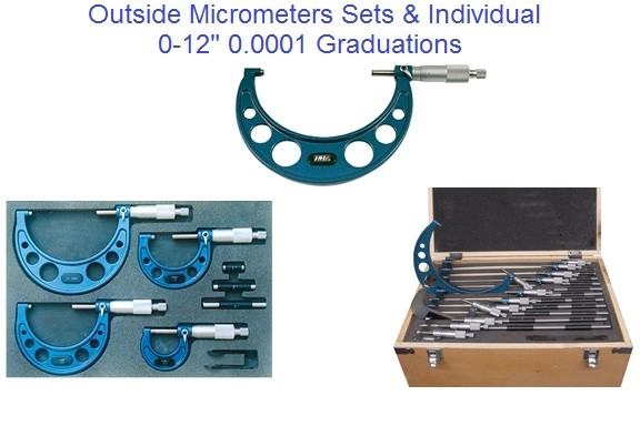 "Micrometer Outside 0-12"" 0.0001' Graduation Individual And Sets"