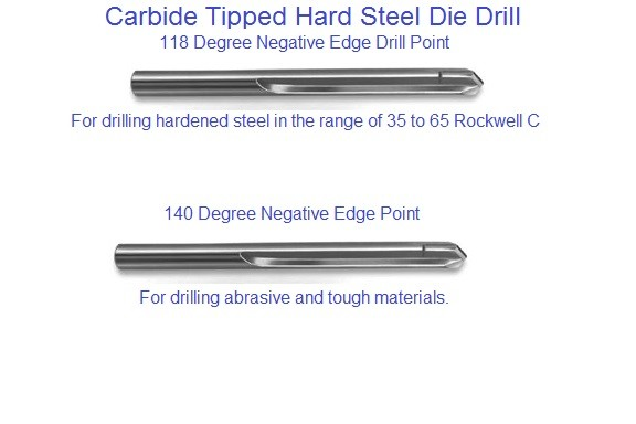 Carbide Tipped Hard Die Drill Negative Point, Drilling 35 - 65 Rockwell C Inch and Metric Series 2670 2671