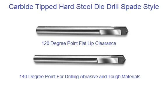 Carbide Tipped Hard Steel Die Drill Spade Style 120 and 140 Degree Point List 2674, 2675