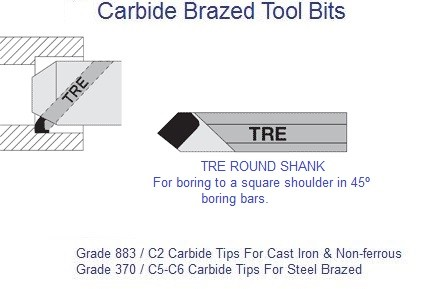 Carbide Tipped Round Shank Boring Tool 45 Degree TRE-5 TRE-6 TRE-8 370 883