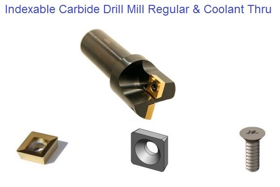 "Indexable Carbide Drill Mills 1/2"" -1-3/4 ""Diameter Regular & Coolant Fed"