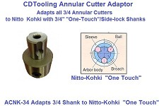 "Annular Cutter Adaptor to Nitto-Kohki ""One-Touch Side Lock 3/4"" Shanks, Convert any Cutter"