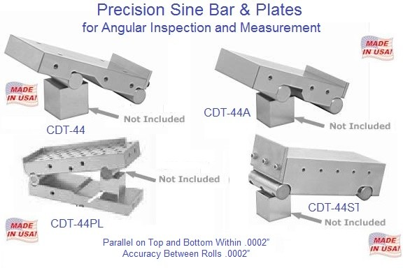 "Precision Sine Ptale and Bars 2-1/2, 2-5/8, 3, 4 inch Wide, 3-3/4 and 6"" Long"