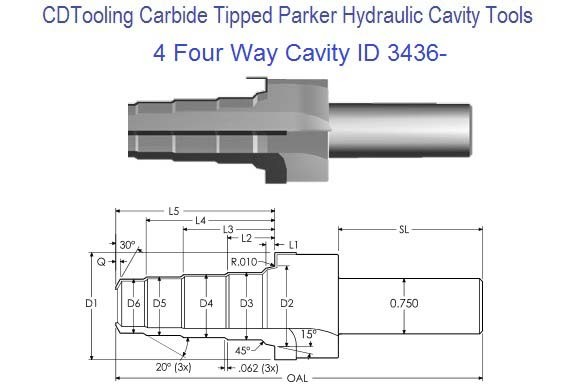 4, Four Way Parker Common Cavity Cutter Carbide Tipped ID 3436-