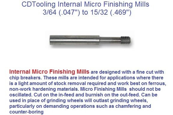 Carbide Internal Micro Finishing Mills 3/64 (.047) to 15/32 (.469) Diameter