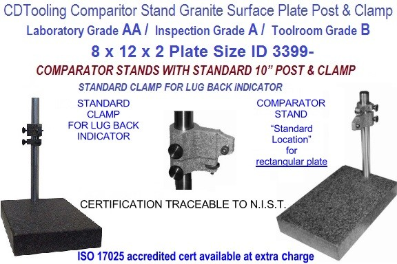 8 x 12 x 2 AA Laboratory, A Inspection, B Toolroom, Grade Granite Comparator Stand ID 3399-)