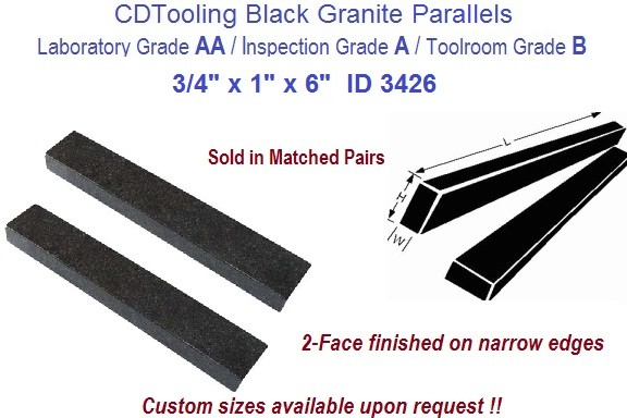 3/4 x 1 x 6 AA Laboratory, A Inspection, B Toolroom, 4 face Parallels Black Granite ID 3433-