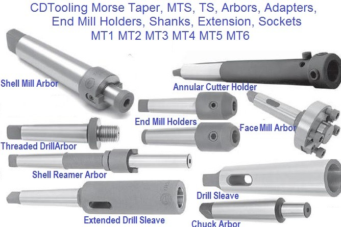 Morse Taper, MTS, TS, Arbors, Adapters, End Mill Holders, Shanks, Extension, Sockets