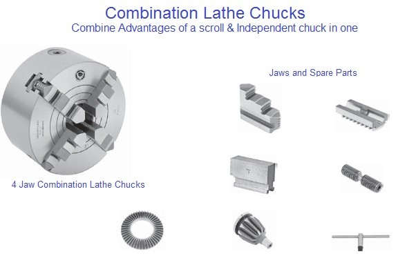 Lathe Chuck 5,6,8,10,12,16,20,25 Inch, 4 Jaw Combination Scroll and Independent Jaw Bison Bial